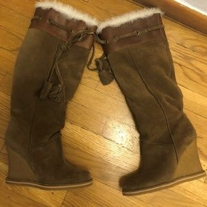 wedge boot Tan suede